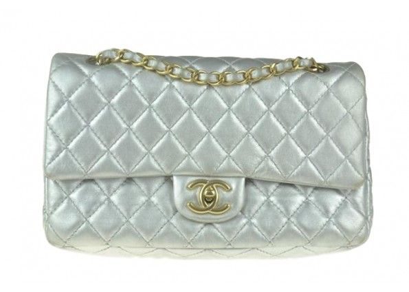 Chanel Classic Silver Medium Quilted Lambskin Double Flap Shoulder Bag