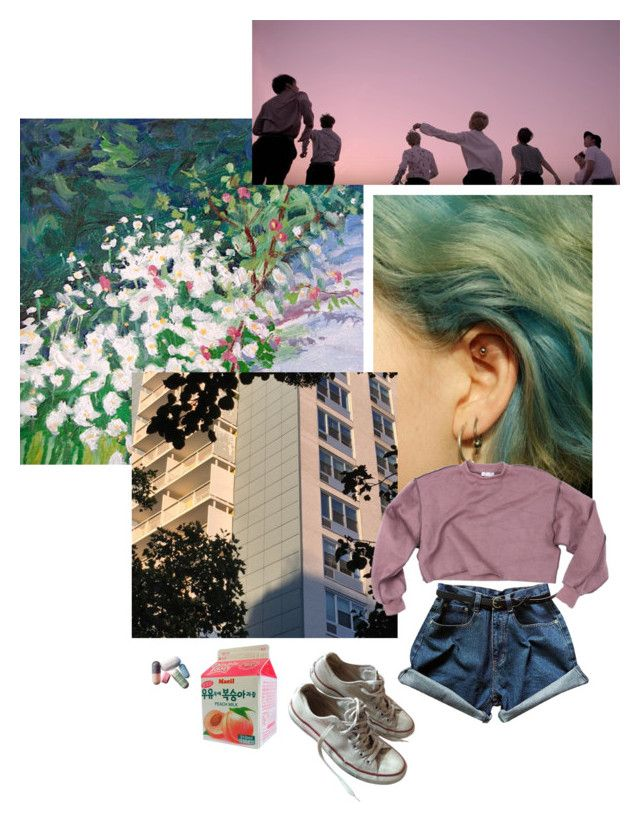 """""""2! 3! hoping for more good days"""" by teenagegreaser ❤ liked on Polyvore featuring Converse, wings, bts and aesthetic"""