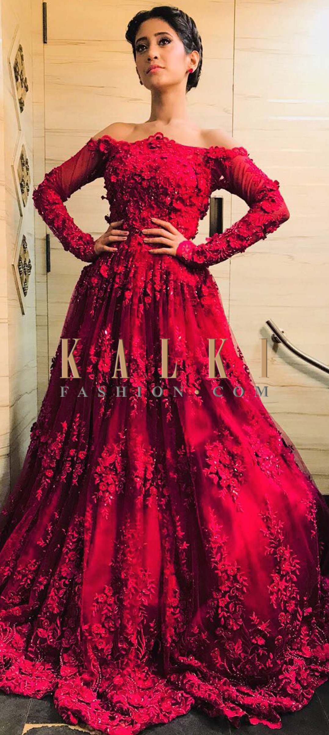 70e81fd72b0a Buy Online from the link below. We ship worldwide (Free Shipping over  US 100) Click Anywhere to Tag Shivangi Joshi in Kalki maroon off shoulder  gown with ...