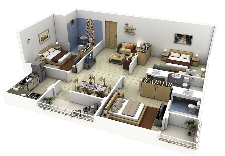Moderne villa grundriss 3d  8 modern 3d floor plans (5) | ñaño | Pinterest