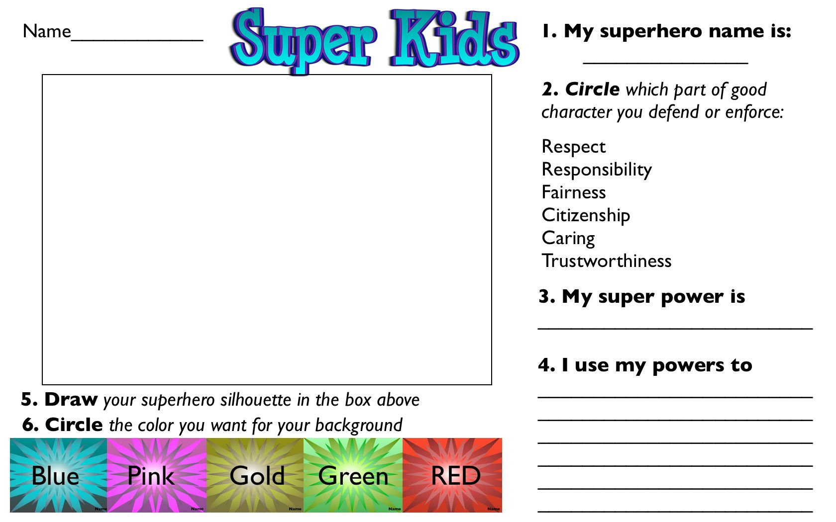 Superhero Worksheet For Self Portrait