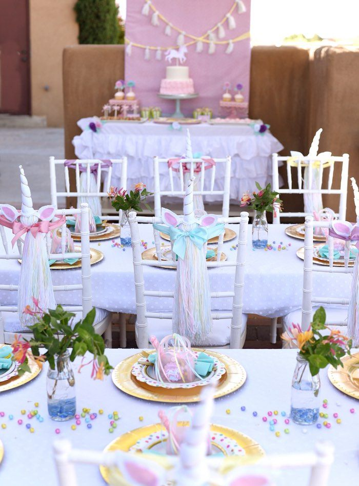 Unicorn Party Tablescapes From A Pastel Themed Birthday Via Karas Ideas
