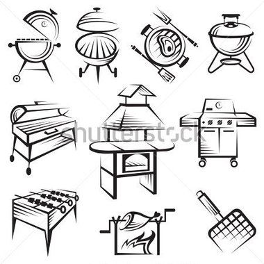 Monochrome Set Of Barbecue And Grill Icons Stock Vector Clipart Me Vintage Drawing Doodle Drawings Poster Design Inspiration
