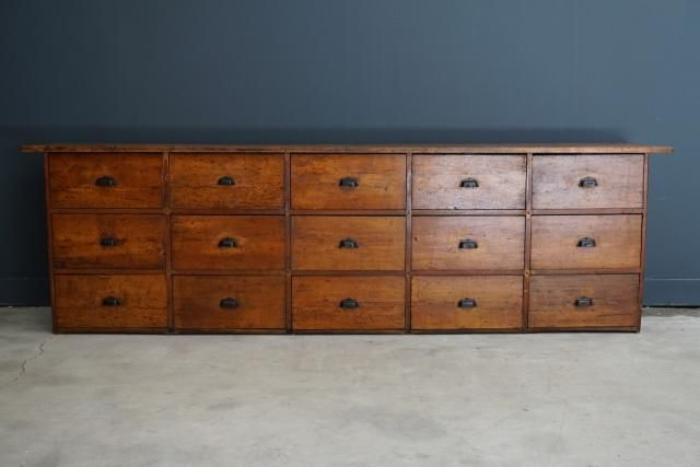 Large Vintage French Beech Apothecary Cabinet For Sale At Pamono