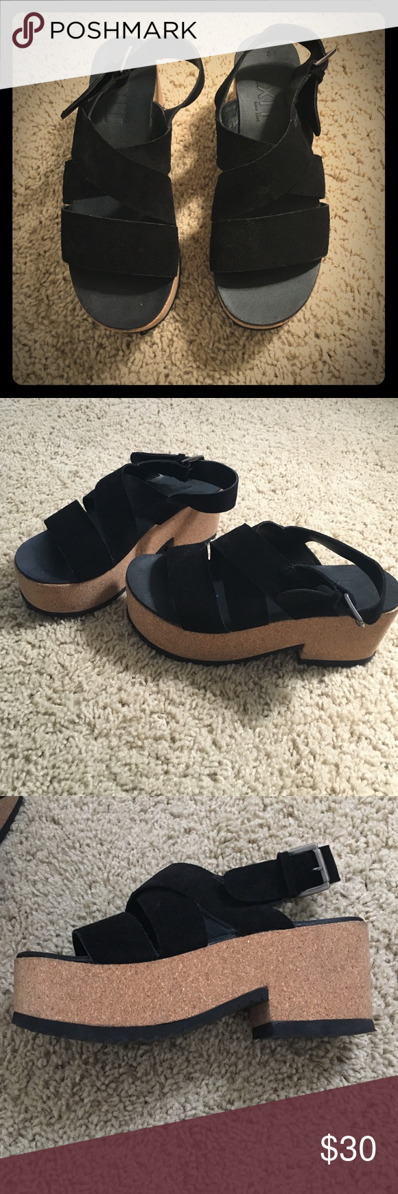 Black platform sandals Super comfortable! suede stripes, cork sole. Perfect conditions! Like new. Exit Shoes Platforms