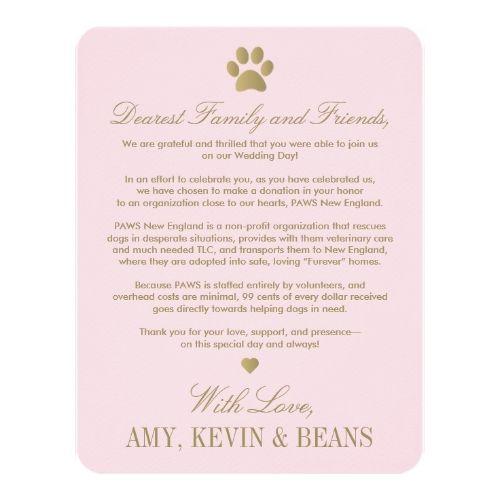 Pink Wedding Reception Animal Rescue Donation Card Paw Print Design Invitations
