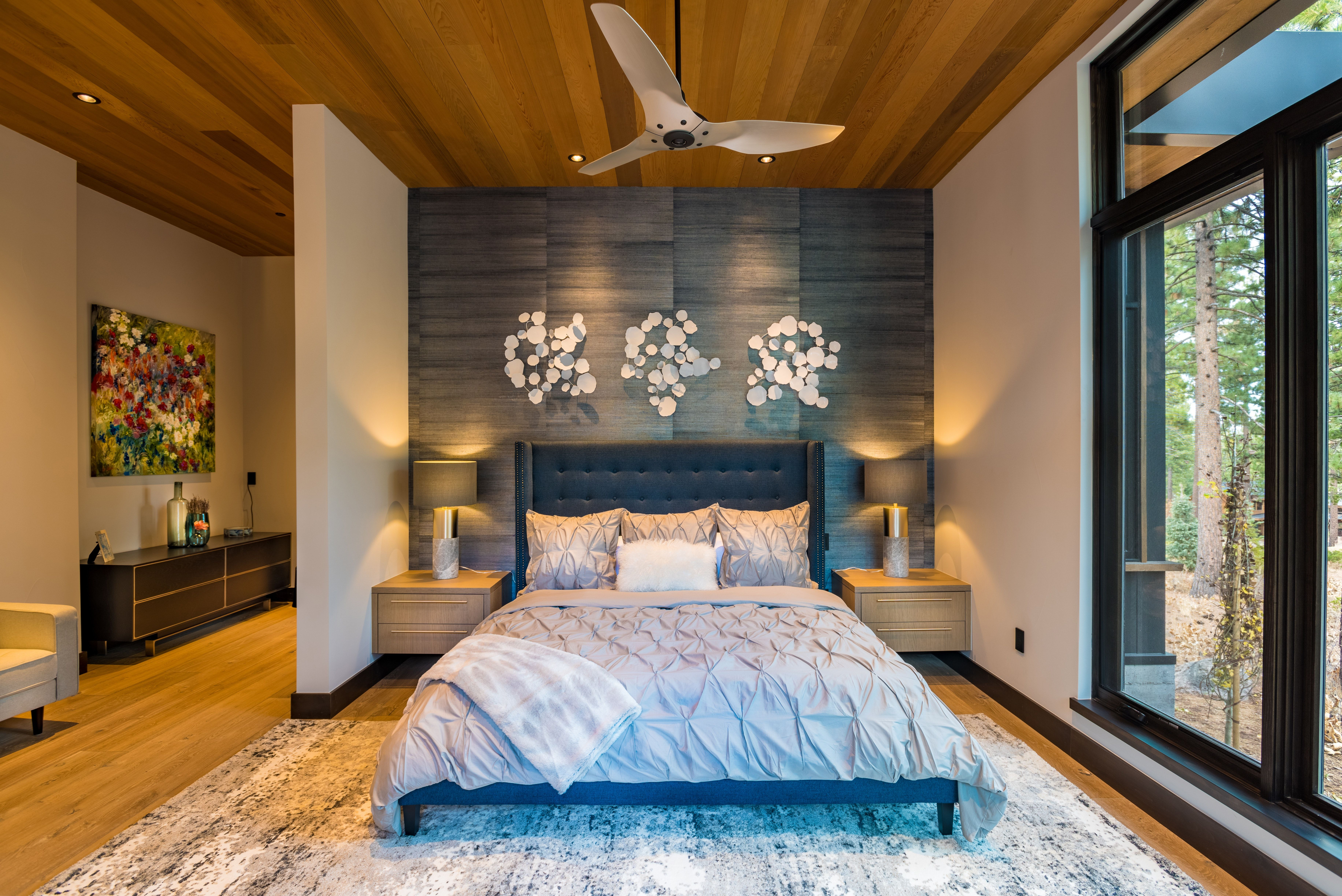 A Luxuriously Colorful and Textured Master Bedroom with