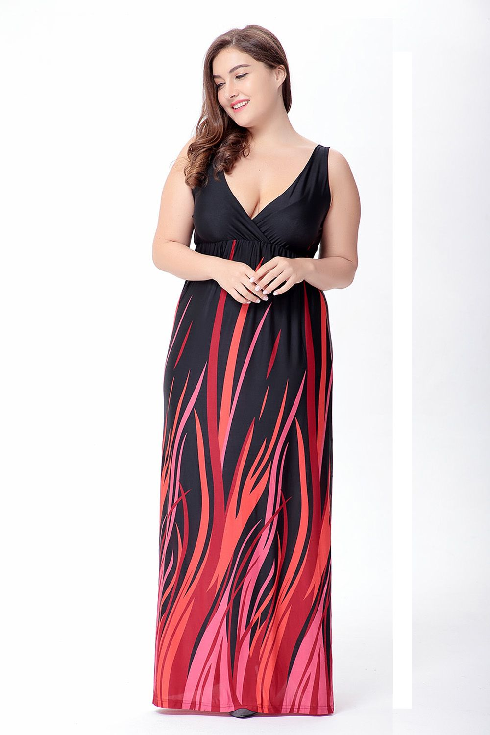Free shipping buy best sexy vneck long dress pattern printed robe