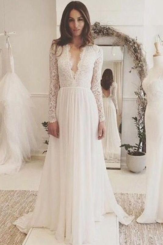White V Neck Long Sleeve Prom Dress Elegant Simple Wedding Dress Bo02 In 2020 Prom Dresses Long With Sleeves Simple Prom Dress Lace Wedding Dress With Sleeves