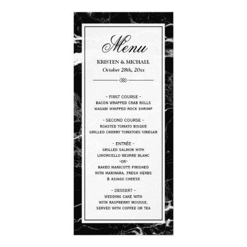 Elegant Black White Marble Wedding Menu Template Black and White - dessert menu template