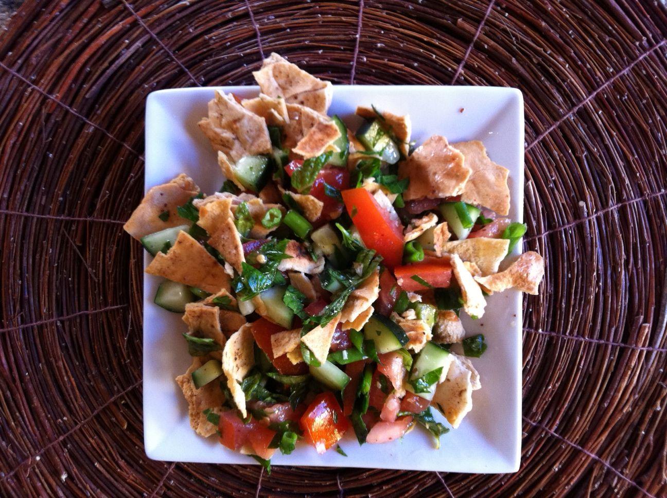 Pita Bread Salad on a plate