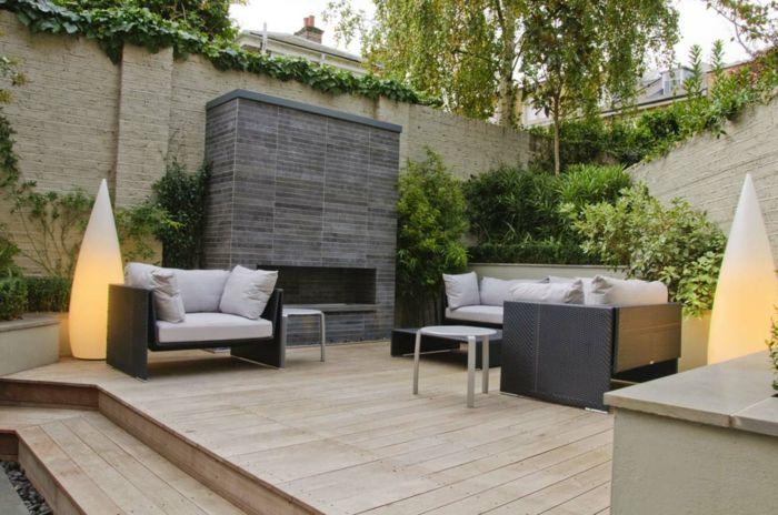 Garten Gestalten Ideen Gartenleuchten Kamin Moderne Gartenmöbel