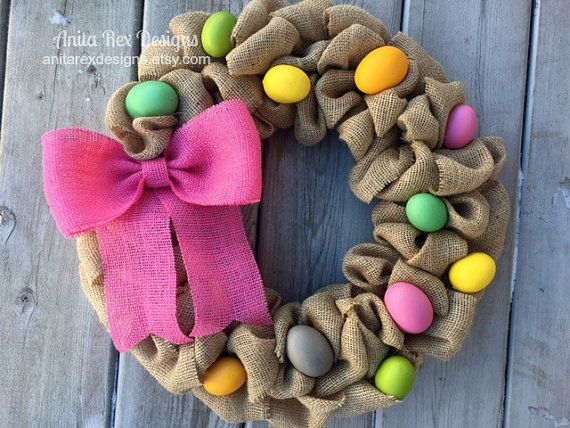 Easter Wreath Easter Egg Wreath Burlap Wreath by AnitaRexDesigns