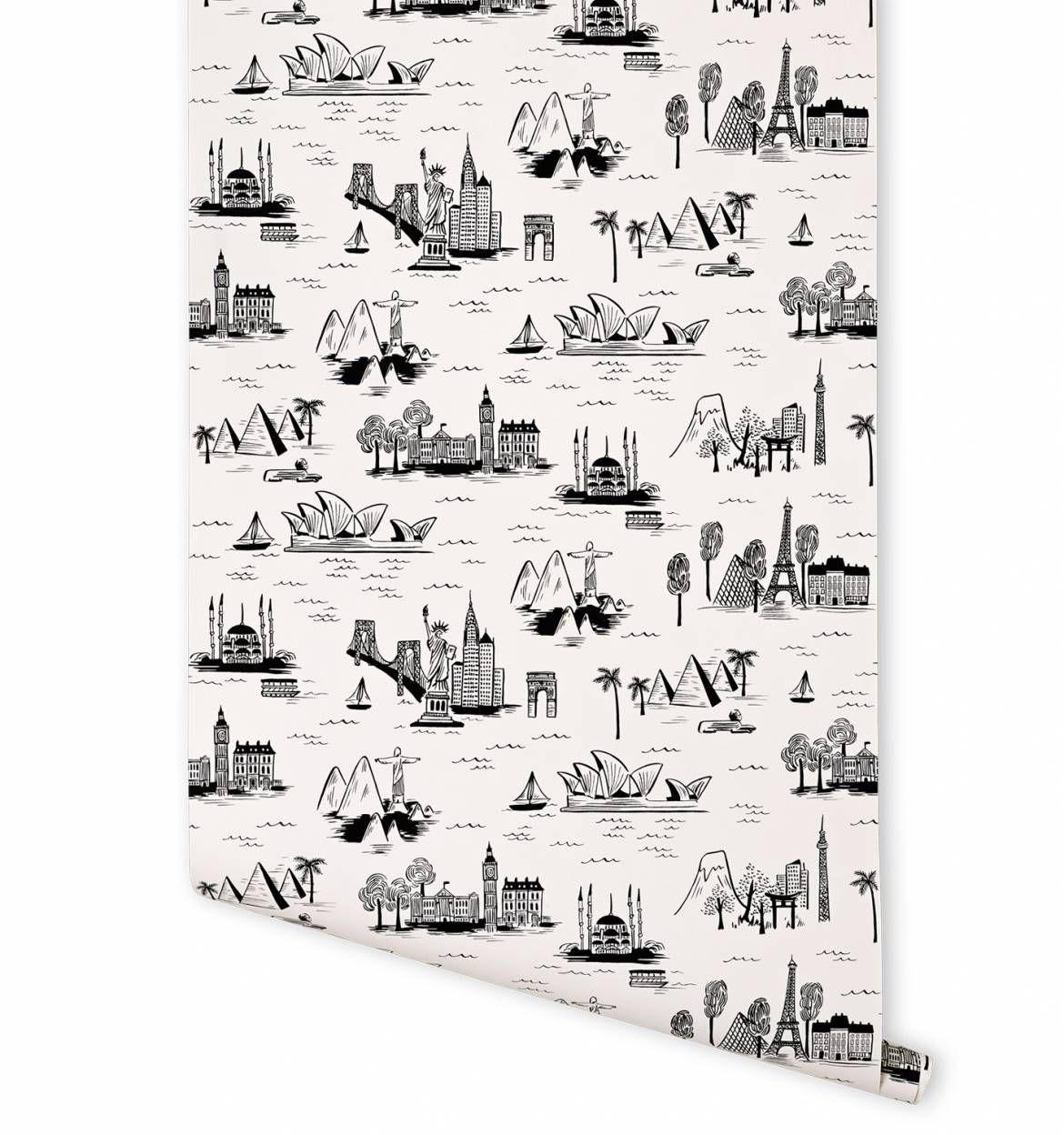 City Toile (White) Screen Printed