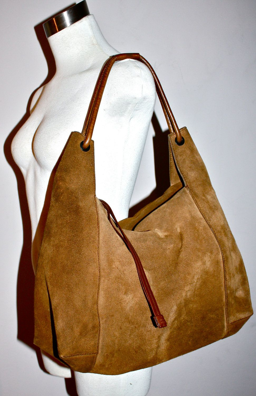 af7d26a25a58 Huge VINTAGE GUCCI Authentic Brown Suede Slouchy Leather Hobo Bag ...
