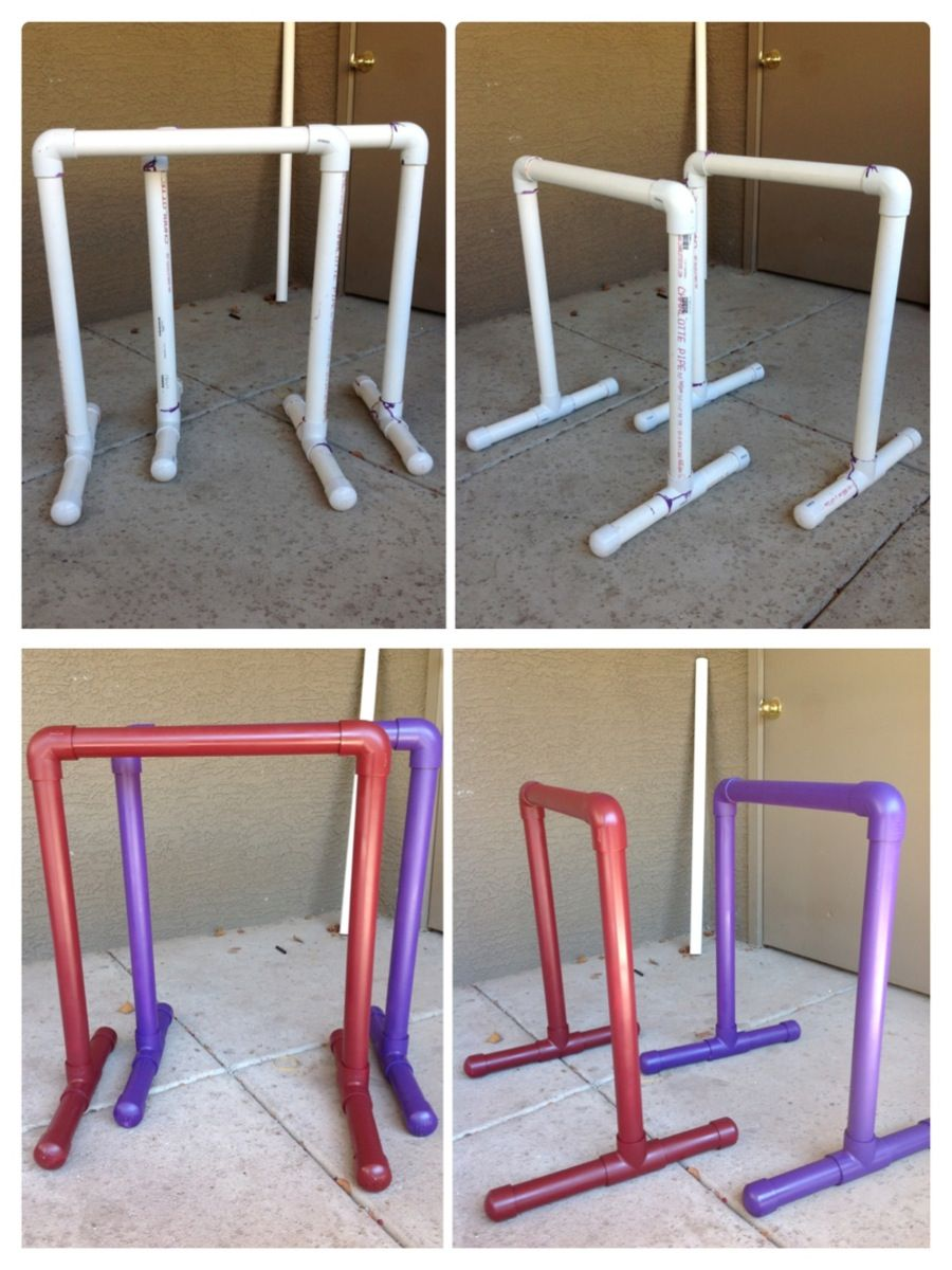 Googled Made My Very Own Gym Equalizer Bars Made Out Of Pvc Pipes It S Just As Sturdy As Metal Bars Diy Gym No Equipment Workout Diy Gymnastics Equipment