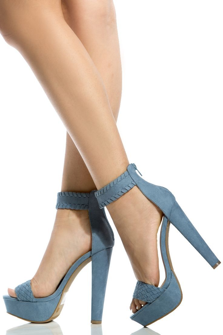 1a24d031ad9a Ankle · Women s Fashion High Heels   Blue Faux Suede Ankle Strap Chunky Platform  Heels   Cicihot Heel