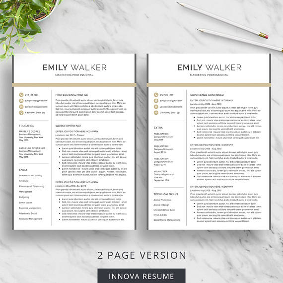 Resume template for Word 1, 2 and 3 page resume with matching cover - professional reference