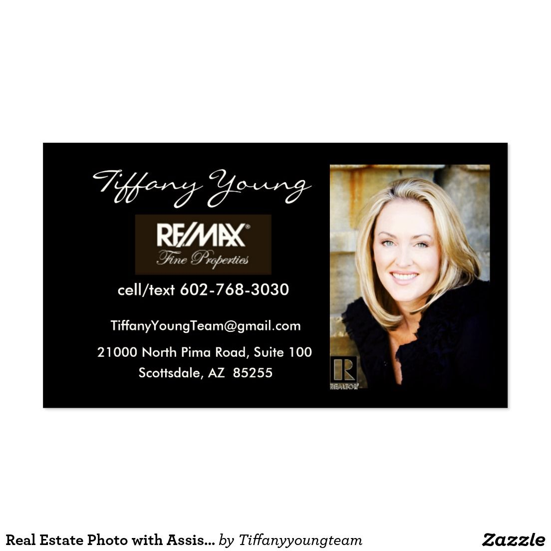 Real Estate Photo with Assistant on back of card! Business Card ...