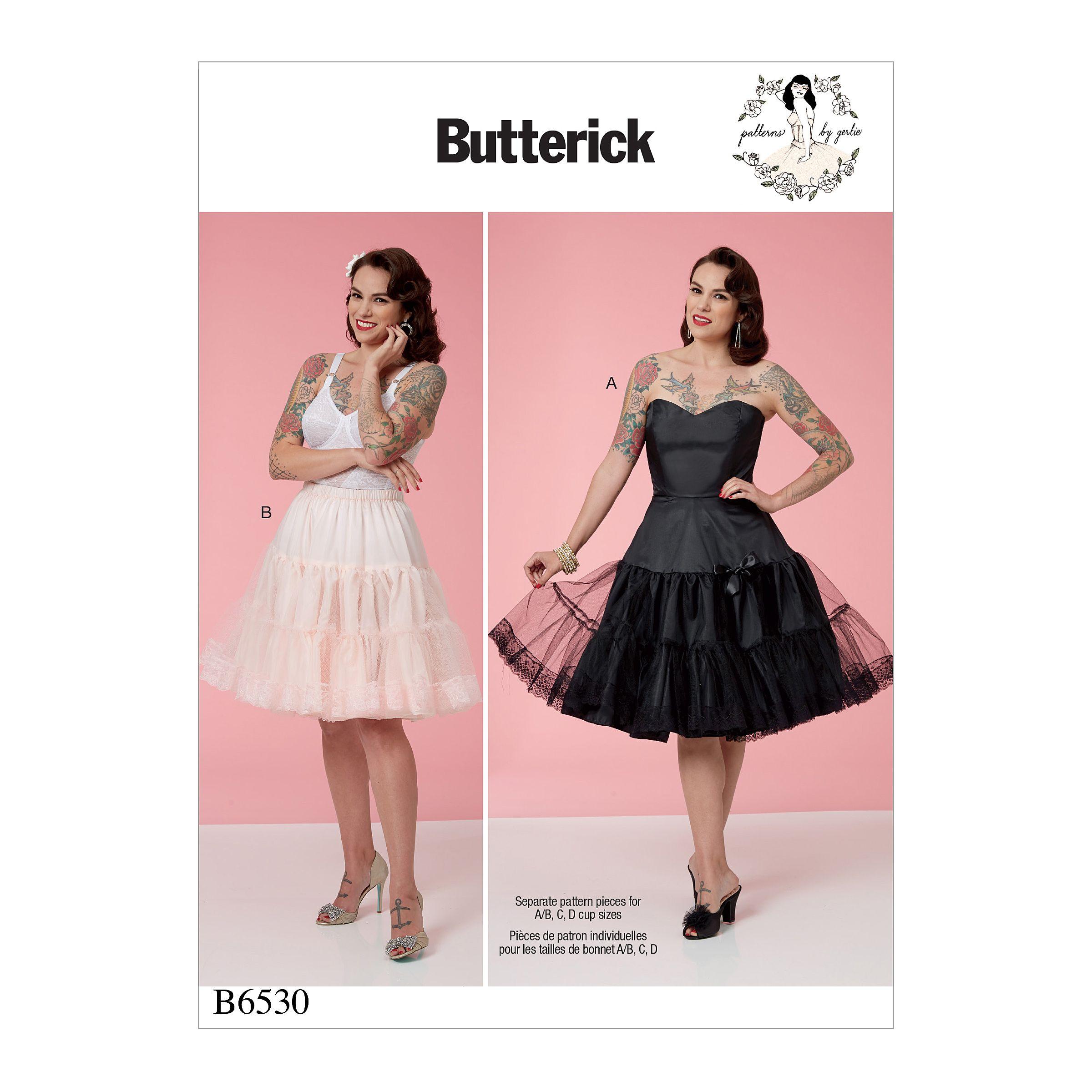B6530 Sewing Pattern Butterick 6530 Misses/' Full Slip Petticoat Pin Up Gertie