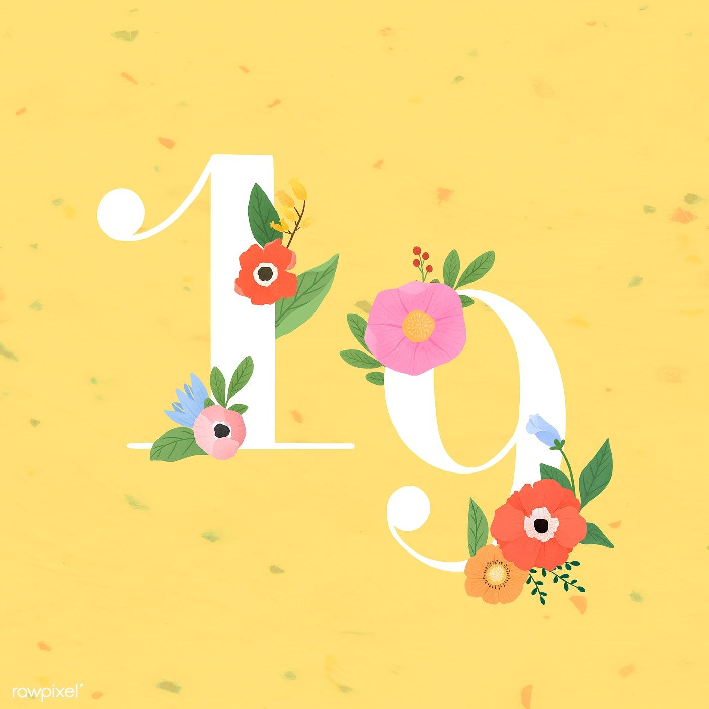 Download Premium Vector Of Watercolor Floral Number 19 Vector