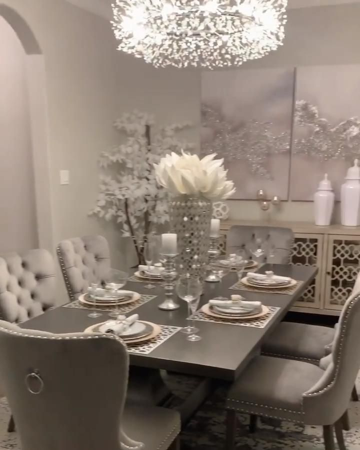 Photo of Chic Kitchen Nook | Grey Glam Style Dining Room | Velvet Upholstered Dining Chairs | Beautiful Home
