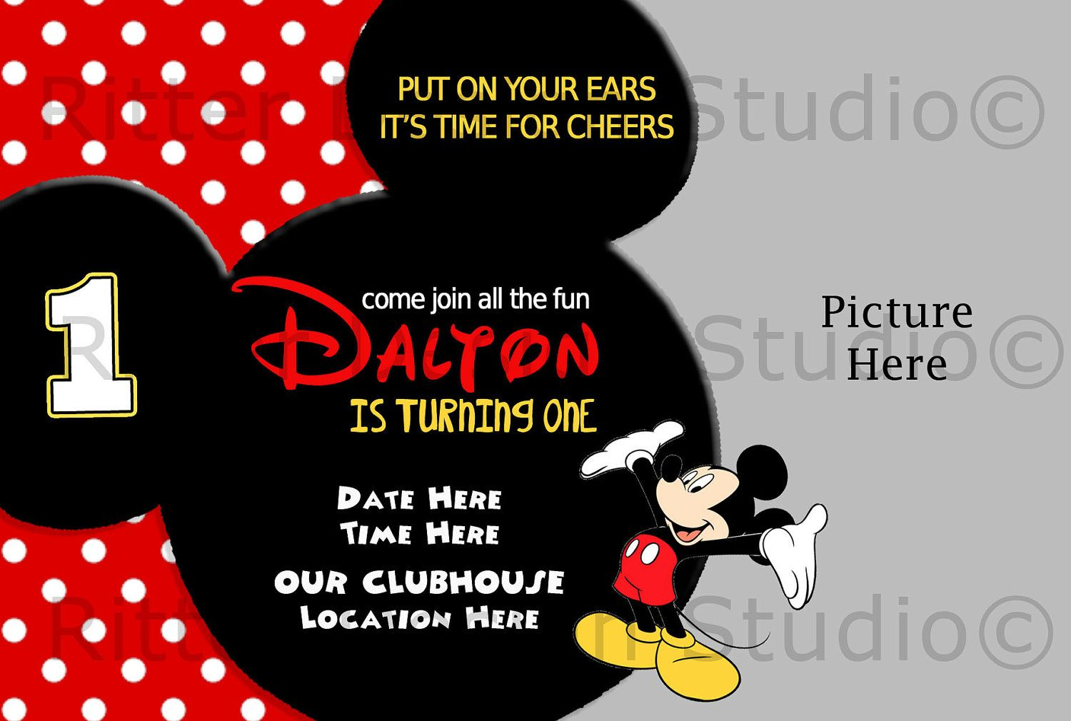 Printable Mickey Mouse Invitations Template Mickey mouse