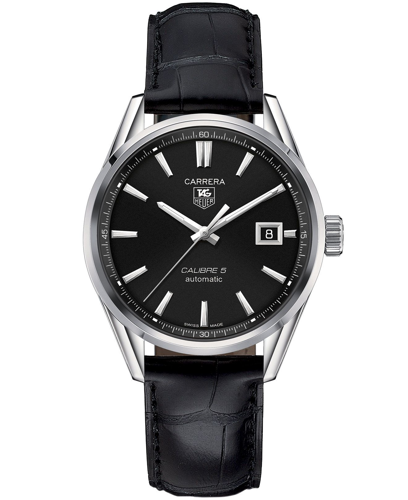 91dd84595a3 TAG Heuer Men s Swiss Automatic Carrera Calibre 5 Black Leather Strap Watch  39mm WAR211A.FC6180 - Men s Watches - Jewelry   Watches - Macy s