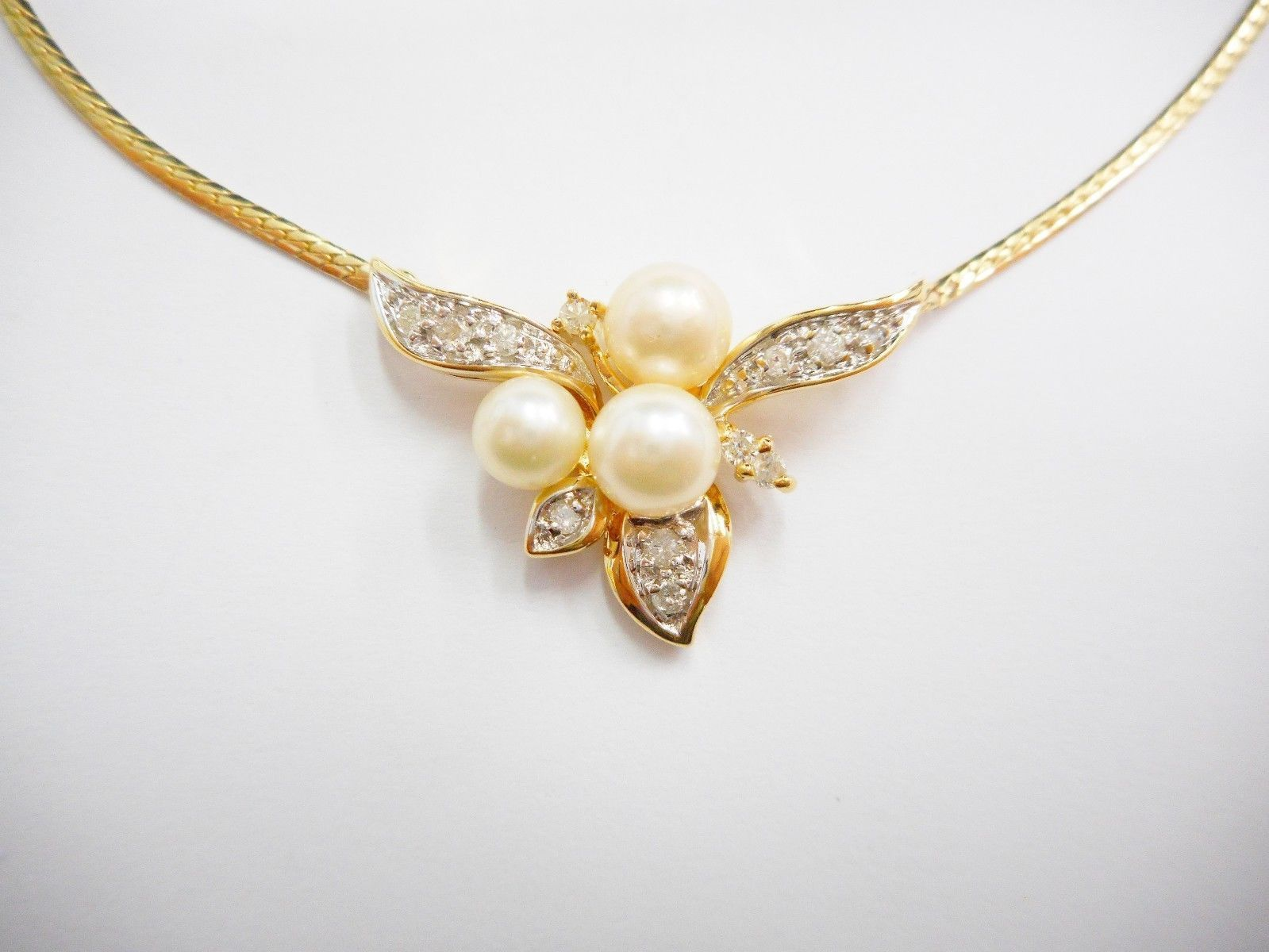 "Genuine 14k Yellow Gold Pearl & Diamond Pendant Necklace 16"" #2493"