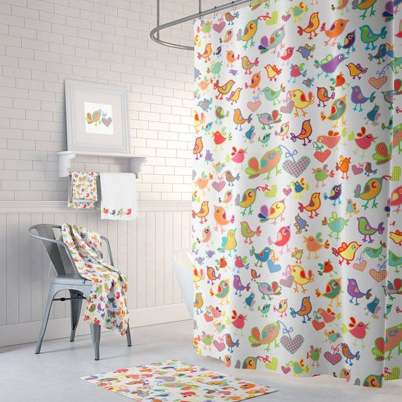 Kids Shower Curtain Colorful Curtains Extra Long Childrens Bathroom Decor Bird P