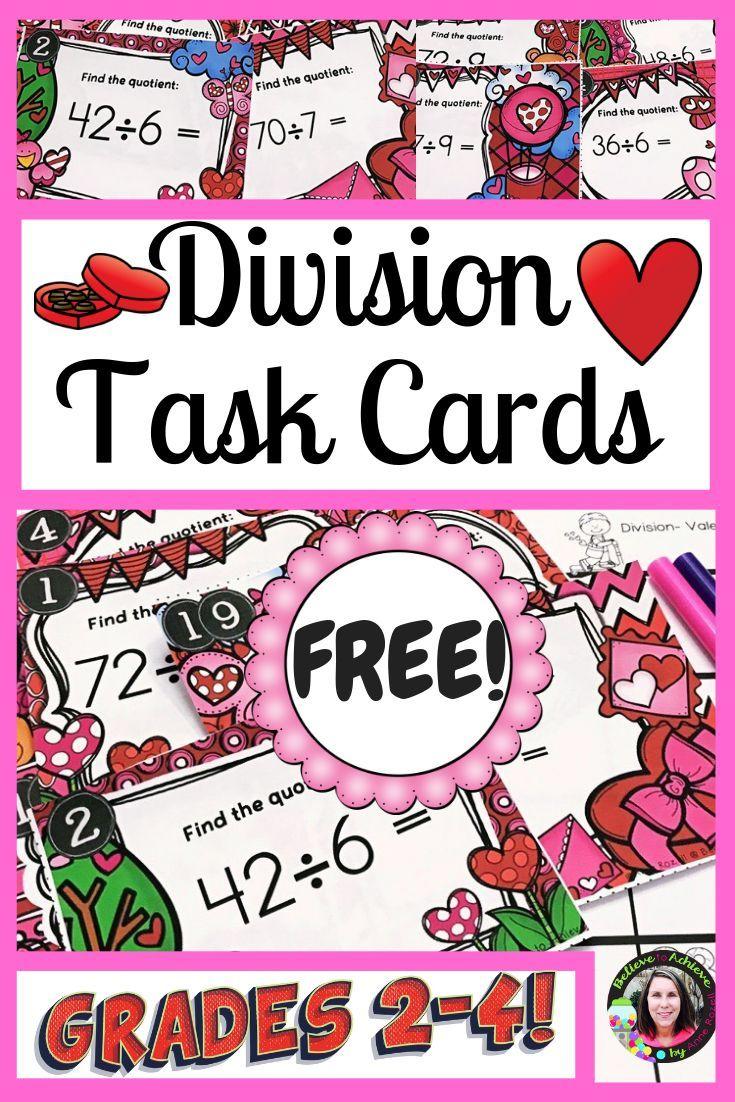 Division Task Cards (Valentine's theme)- FREE
