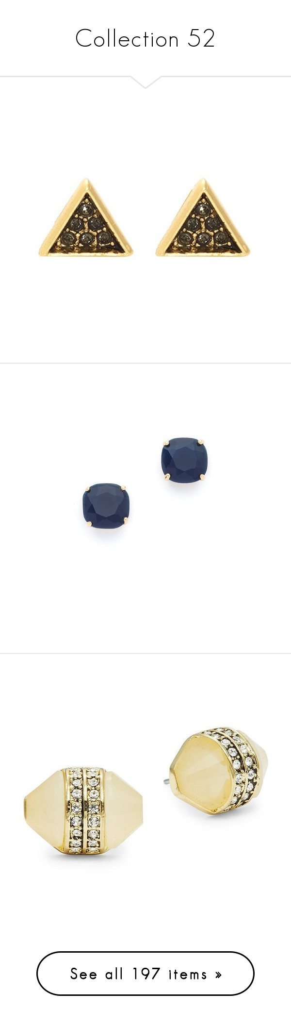"""""""Collection 52"""" by cdepapp on Polyvore featuring jewelry, earrings, nickel free stud earrings, pave stud earrings, pave jewelry, stud earring set, triangle stud earrings, navy, square earrings and navy blue earrings"""