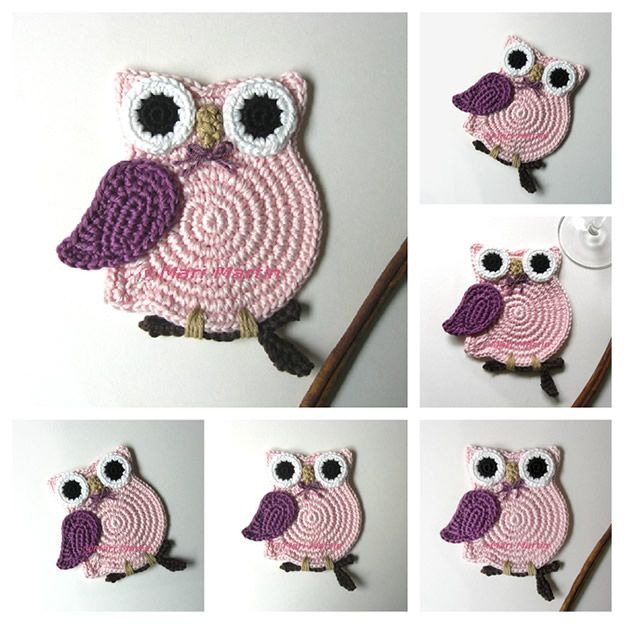 crochet owl These would make such cute Potholders <3 <3 | Knitting ...