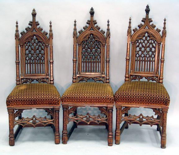 Antique Victorian Oak Gothic Revival Chair c.1890