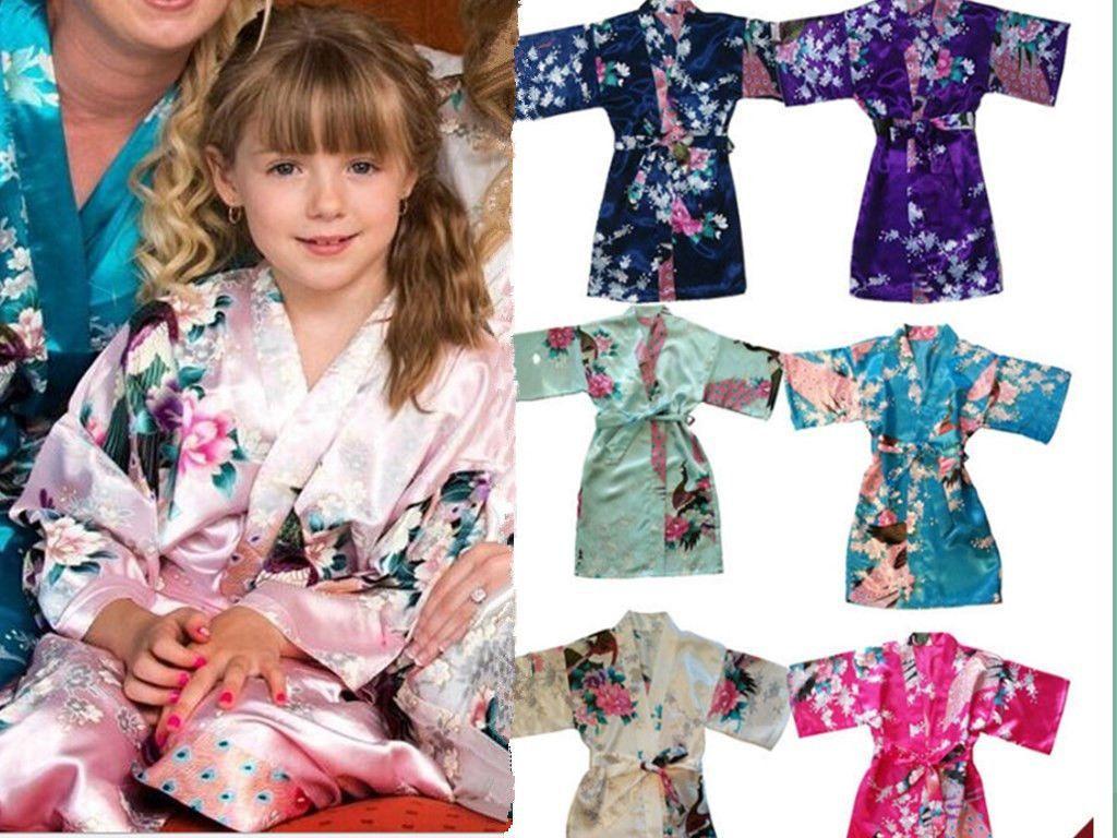 399912041 2016 Hot Girl Kid S Peacock Sleepwear Bride Kimono Robe Satin Night ...