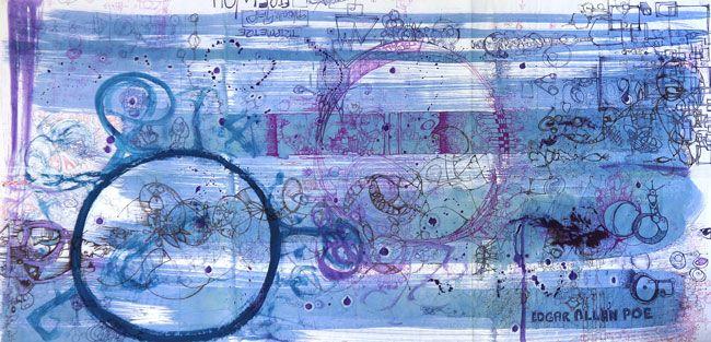 Edgar Allen Poe by Darren Caswell. Visit www.visualemporium.com.au to see more of Darren's art. #art #artist #creative #expression #blue #intricate #flow