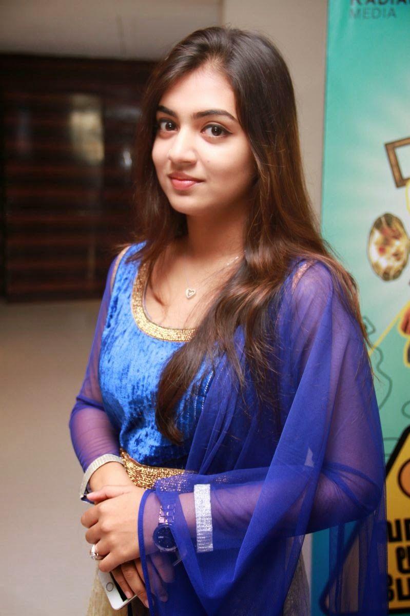 Nazriya Nazim Long Hair Blue Dress Photo Shoot Gallery South