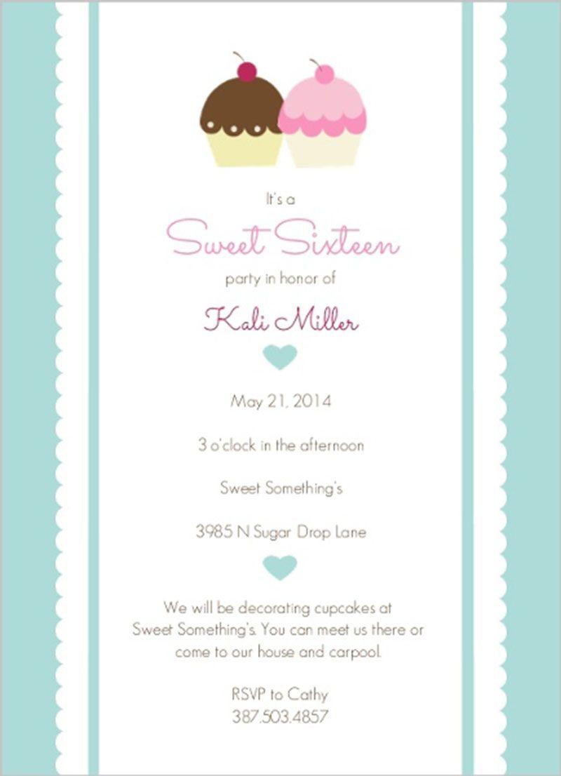 Sweet Sixteen Pink Blue Cupcakes Birthday Invitation Design Sweet ...