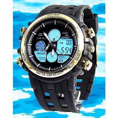BackLight Water Resist Black Band Boy Girl Gold Tone Bezel Anadigit Watch AW355A