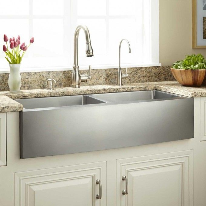 "39"" optimum double-bowl stainless steel farmhouse sink - curved"
