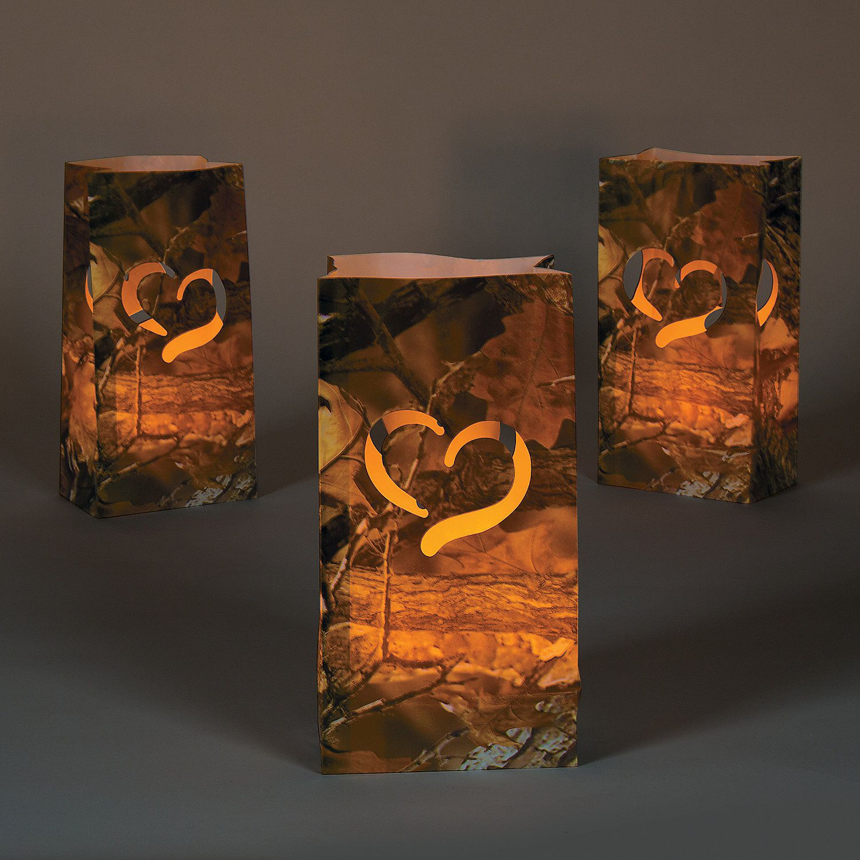 Camo Wedding Decoration Ideas: Camouflage Wedding Luminary Bags, Luminary Bags, Party