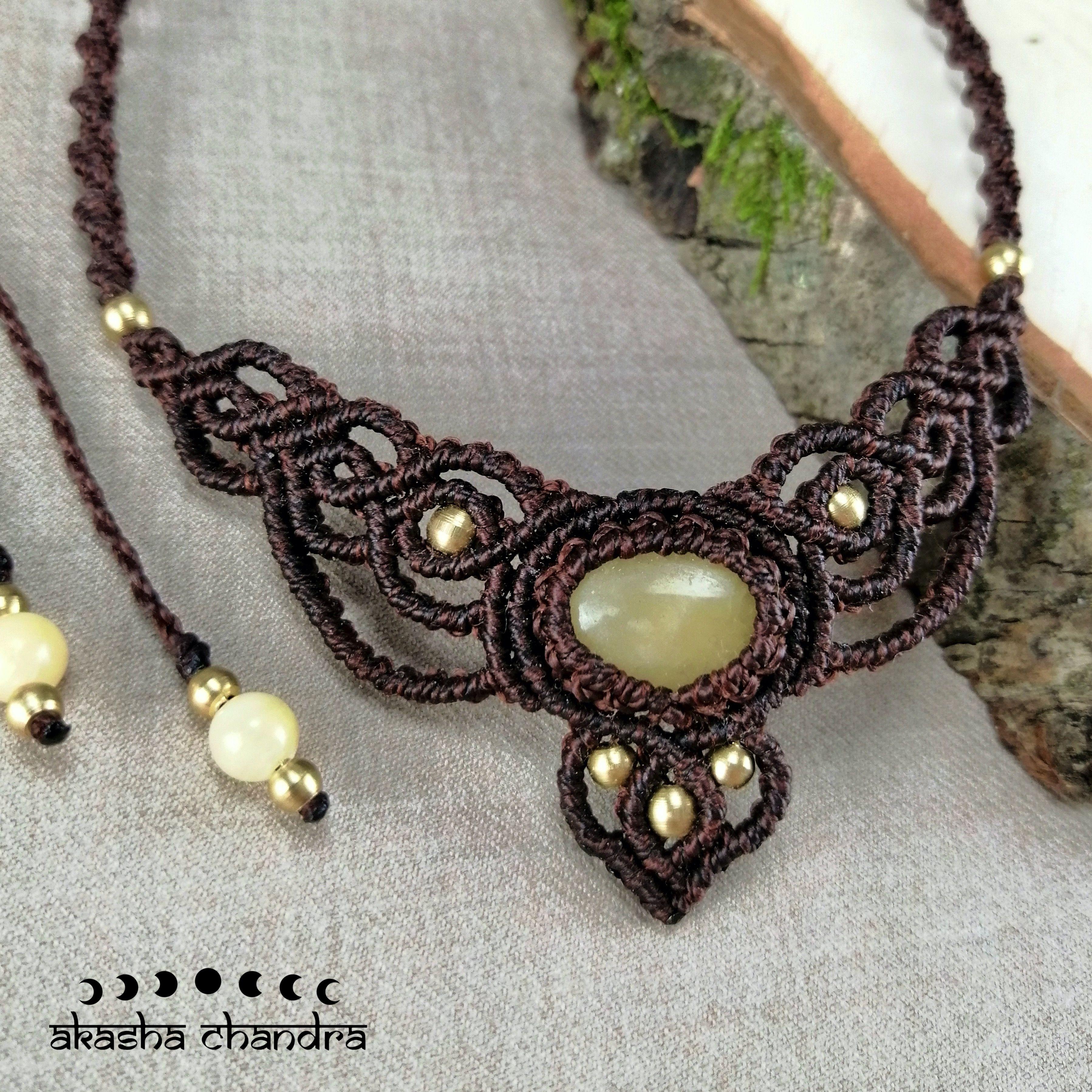 yellow calcite boho macrame necklace