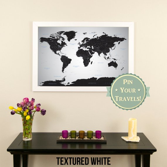 Black Ice World Push Pin Travel Map With Pins And Frame 24 X36 Push