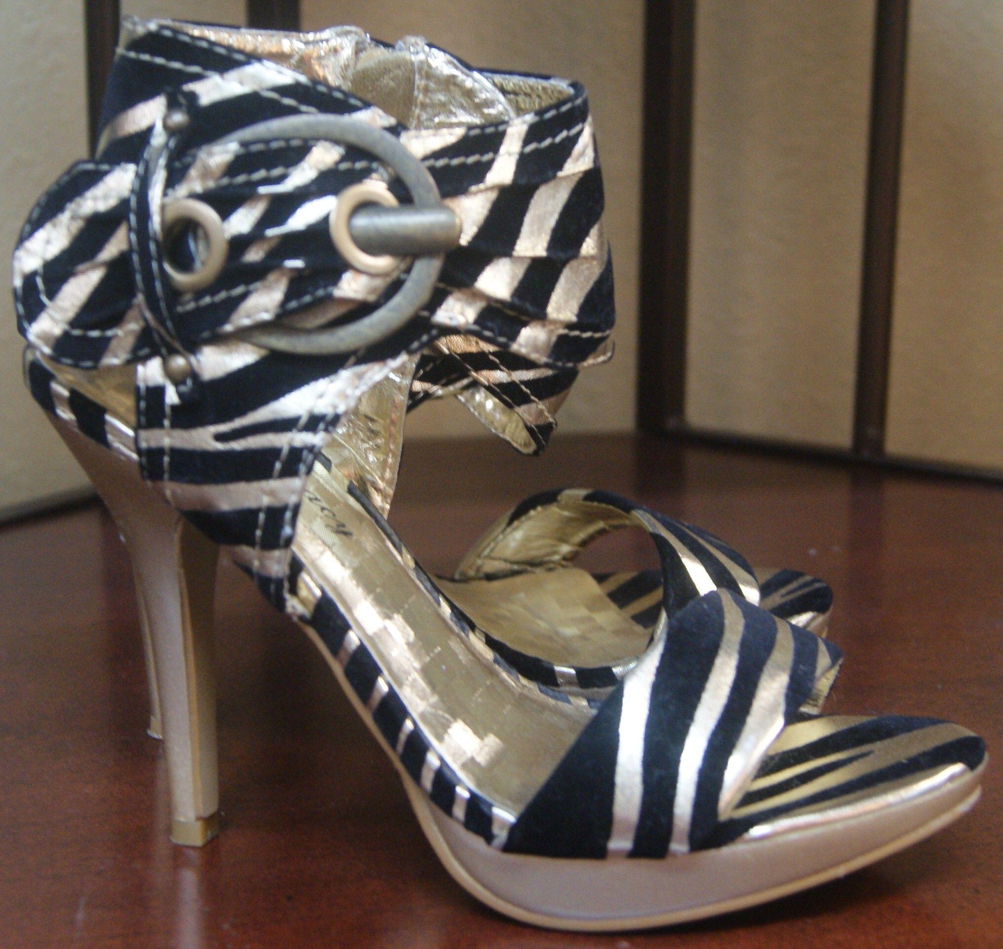 b53eb7e61a5 Gold & Black Zebra Print Stiletto Heels by Delicacy Size: 6 $35.00 ...