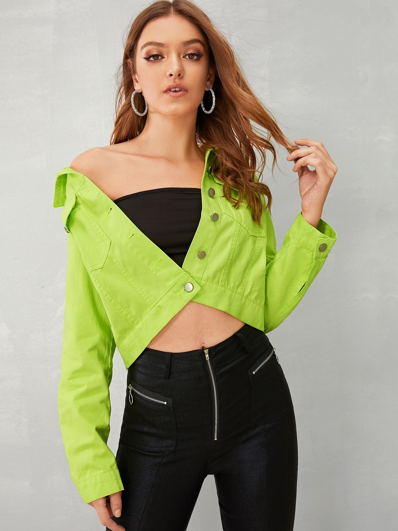 Ad Neon Green Button Through Denim Jacket Tags Casual Green Bright Plain Collar Crop Ot Green Denim Jacket Neon Green Outfits Green Denim Jacket Women [ 1785 x 1340 Pixel ]