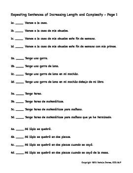 Spanish Sentences of Increasing Length and Complexity for Auditory ...