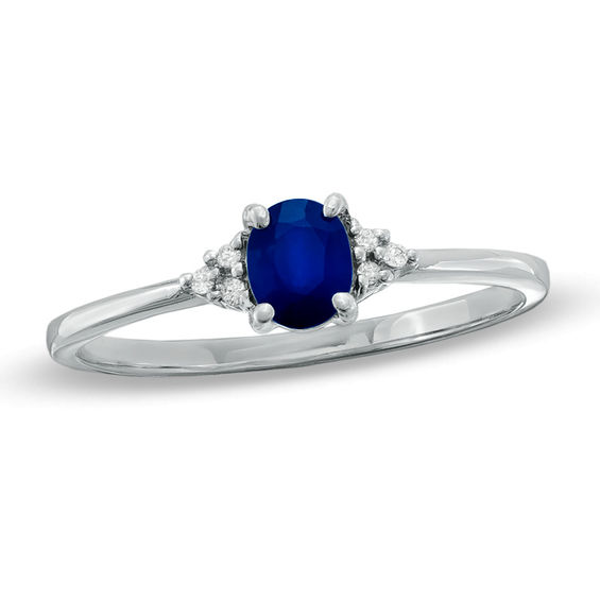 Oval Blue Sapphire And Diamond Accent Ring In 10k White Gold Stylish Rings White Gold Rings