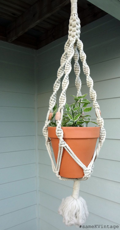 Vintage Macrame Plant Hanger 1960s Wooden Beads 17 00 Via Etsy