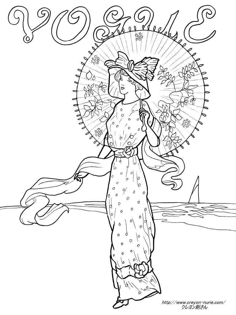 Vogue1910年8月の表紙の塗り絵の下絵画像 塗り絵 Coloring Pages