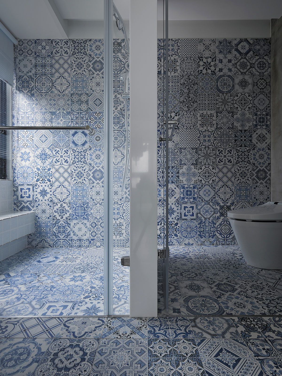 An Eclectic Apartment Renovation In Taipei Taiwan By Ganna Design Yatzer Toilet Design Modern Bathroom Tile Designs Patterned Bathroom Tiles